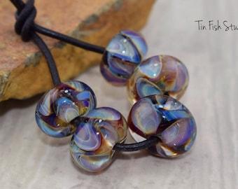Multi-Layeres and Multi-colored Handmade Glass 6 Encased Bead Set