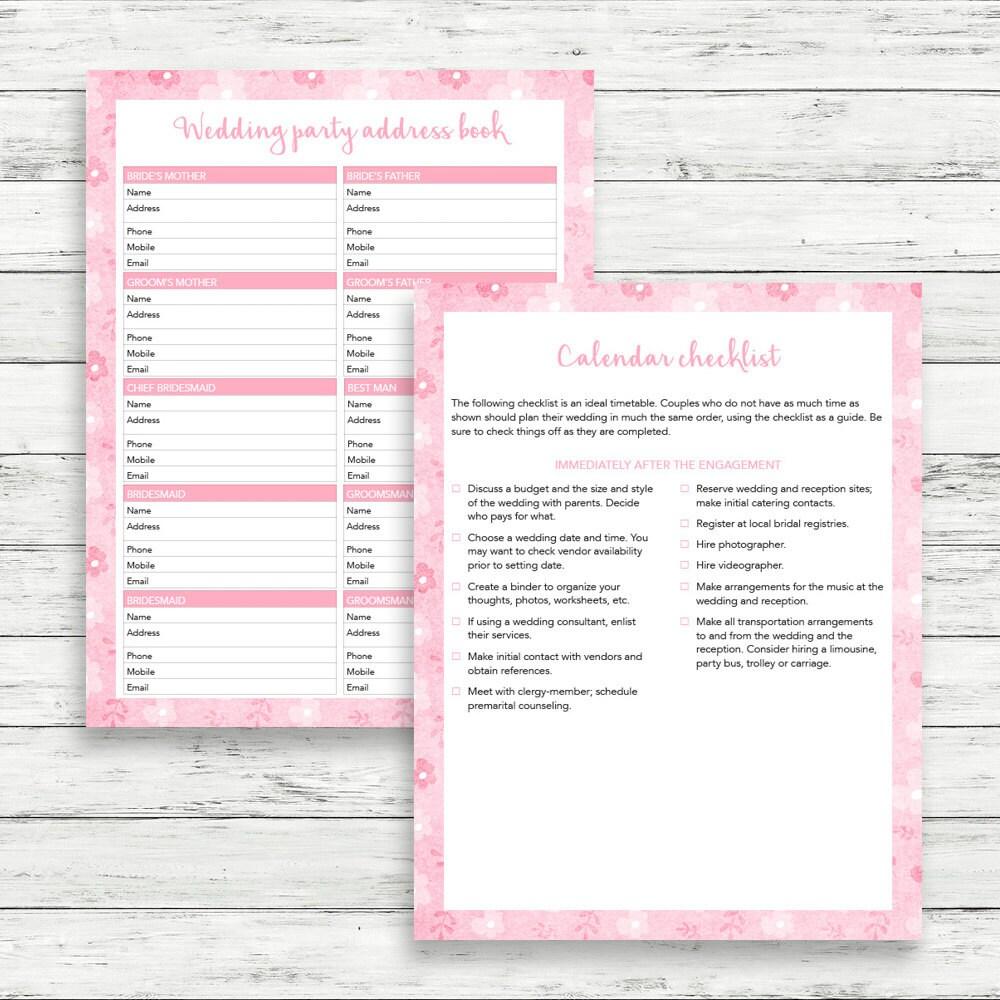 Pink wedding planner printable wedding binder pink wedding book clairetale junglespirit Images