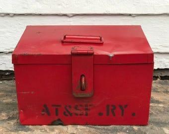 railroad flare box ~ Atchison Topeka Santa Fe Railway flare box ~ A.T. & S.F. RY ~ railroad toolbox ~ red railroad tool box