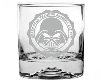 Star Wars Death Star Academy Etched Rocks Glass