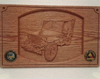 Army Jeep Wall Plaque, Carved Oak with 2 Challenge Coins