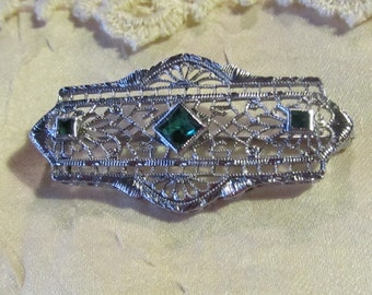 Art Deco Rhodium Filigree Pin