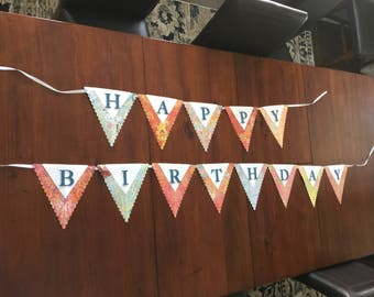 Happy Birthday Pennant Banner, Patterned Paper Birthday Banner