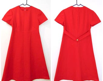 Vintage Red Dress/60s Dress/1960s Dress/Mod Dress/Scooter Dress/Dollybird/Vintage Dress/A-Line Dress/Sixties Dress/UK 12/UK 14