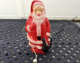 Empire Blow Mold Plastic 13 Inch Lighted Santa Claus Christmas Decoration 1968 Made in USA