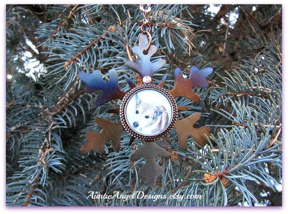 Snowflake Photo Ornament, Pet Lover Photo Gift, Custom Pet Lover Photo Ornament, Dog Photo Tribute, Pet Photo Ornament, Pet Lover Sympathy