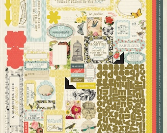 """AUTHENTIQUE Harmony Collection, 12 X 12 """"Details"""" Sticker Sheet, Flora and Fauna Theme Stickers"""