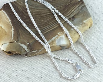"""Sterling Silver 2.2mm Thick Wheat Spiga Chain 18"""""""