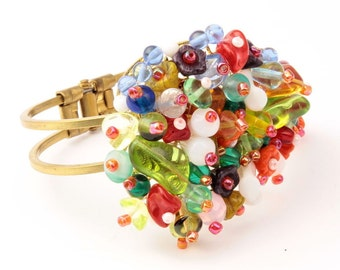 Vintage Czech hand wired glass beaded fruit salad spring clasp bracelet 108-42