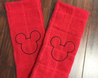 Mickey Mouse Kitchen Towel - Set of 2. Red