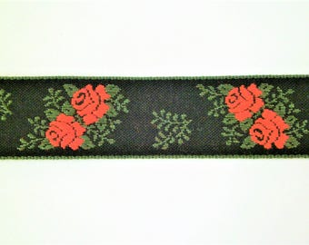 "1 m Woven Ribbon ""Roses"" 100 % cotton 25 mm w Dirndl Oktoberfest bavaria"
