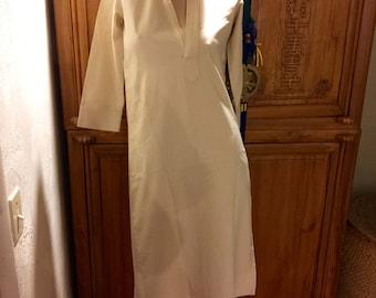 Minimalist Cream Tunice Shirt Dress Asian Mandarin Collar Oriental Zen Dress XS/S