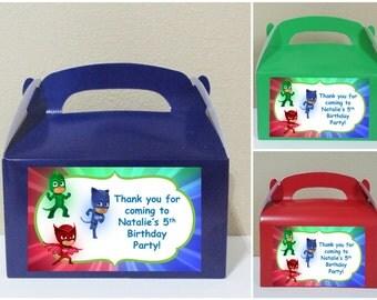 12 Personalized Pj Masks Gable Boxes  Pj Masks Favor Boxes  Pj Masks Treat Boxes Pj Masks Party Favors