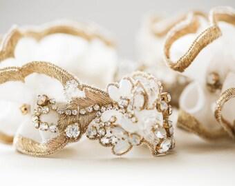 Wedding Garter, Wedding Garter Gold and opal, bridal garter, wedding garter set, prom garter sets, wedding garter gold - Style R101