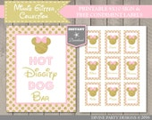 INSTANT DOWNLOAD Pink & Gold Glitter Mouse Printable 8x10 Hot Diggity Dog Bar Sign / Free Condiment Labels / Glitter Collection / Item #2003