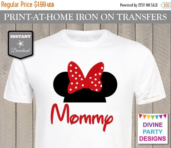 Sale instant download print at home red girl mouse mommy for Instant t shirt printing