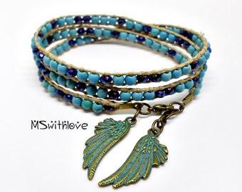 Turquoise Wrap Bracelet, Bronze and Blue Angel Wing Bracelet, Boho Wrap Bracelet, Bohemian Wing Bracelet, Handmade Hemp Cord Bracelet