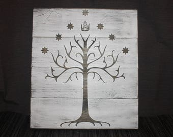 Lord of the Rings White Tree of Gondor Wall Hanging / Sign – Lord of the Rings Home Decor – LOTR Decor / Wall Hanging / Wood Sign