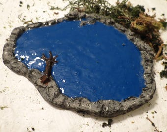 Ho Scale Painted or unpainted-Moss Green/ Bright Blue Round Shaped Pond/ Lake- Train Dollhouse Diorama Miniatures