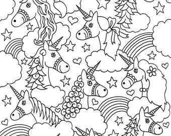 Unicorns Digital Download Coloring Page