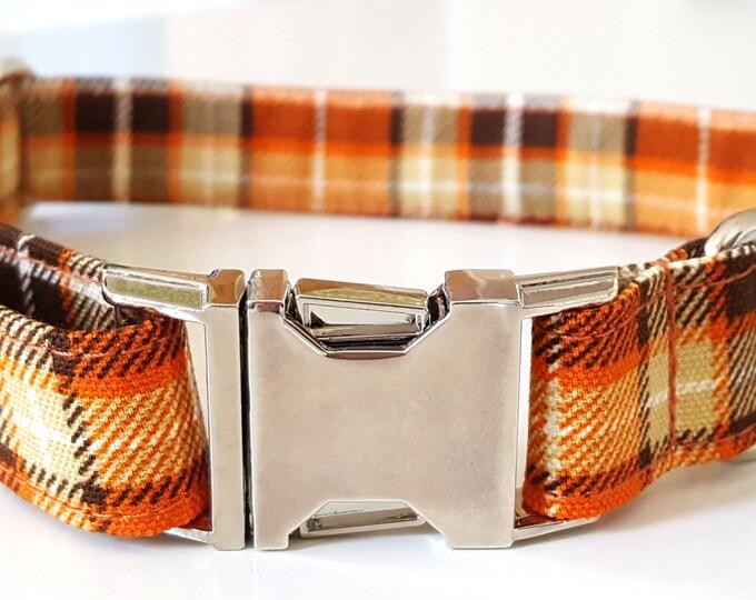 Dog Collar - Orange Plaid Check Dog Collar