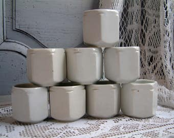 Set of 8 french vintage thick porcelain yogurt pots. French country kitchen. Mid century minimalist white Rustic farmhouse. Haute Porcelaine