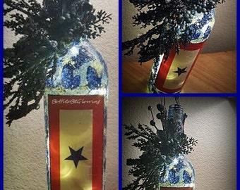 Mother's Blue Star Service Flag Bottle Light with LED Lights