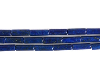 13mm Dyed Blue Lapis Cylinder tube loose gemstone beads 16""