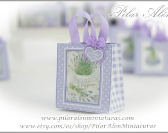 Shopping bags for dollhouse, 12th scale. One inch dollhouse. Lavender love