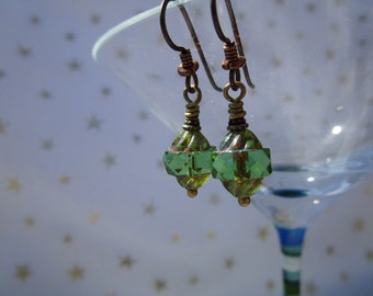 Beautiful Green Turbine Czech Glass Earrings Niobium French Hooks Rustic but Feminine Dressy Cut Glass Earrings Hypoallergenic Ear Wires