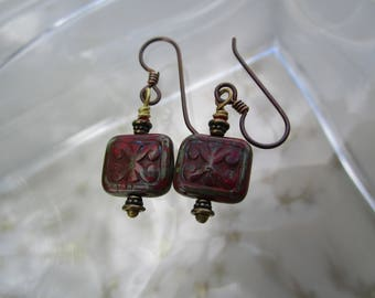 Funky New Rustic Little Red Czech Trix Earrings Organic Ancient Carved Glass Rectangle Tile Earrings Hypoallergenic Niobium Ear Wires