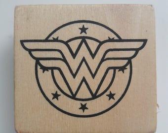 Wonder Woman Logo Wood Mounted Rubber Stamp Scrapbooking & Stamping  Supplies