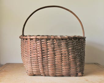 Large Antique Handmade Splint Basket  - Square Base - Rustic - Country - Farmhouse Decor Gathering