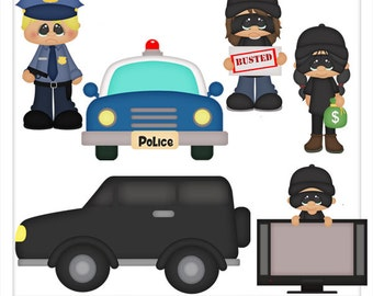 DIGITAL SCRAPBOOKING CLIPART - Playing Cops And Robbers - Exclusive