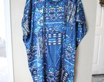 vintage blue tunic caftan dress *