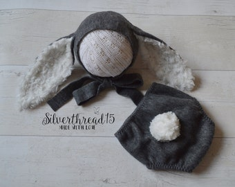 Baby Bunny Hat and romper  - Easte hat and romper - Photo Prop- Easte bunny