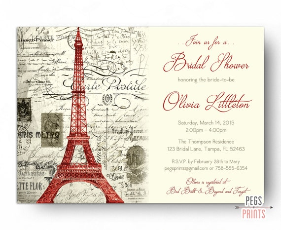 Red paris themed bridal shower invitation printable paris bridal il570xn filmwisefo