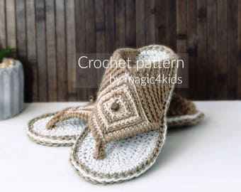 Crochet pattern - thong sandals with rope soles,slip ons,slippers,flip-flops,scuffs,soles pattern included,women,adult,girl,cord soles,twine