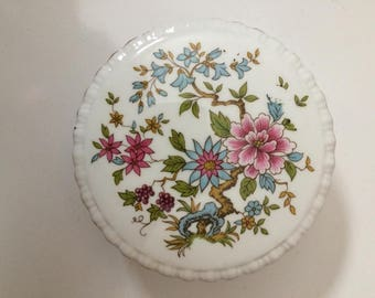 Small Flowered Porcelain Trinket Box for Jewellery Paragon England