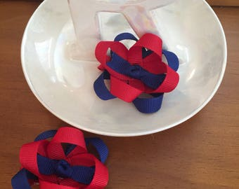 Red and navy blue loopy hair bows, hair bow, set of 2