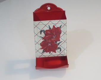 Vintage retro red tropical hibiscus flower tin kitchen ware match holder safe