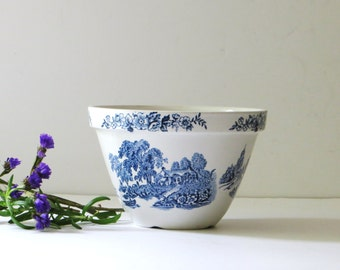 Blue Transferware Ironstone Bowl Vintage Ironstone English Mixing Bowl, Breakfast Bowl