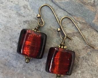 Garnet Red Murano Glass Earrings, Square Earrings, 1.5 inches long.
