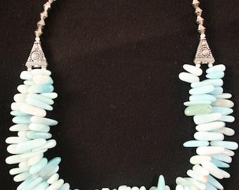 Amazonite Necklace, Double strand.