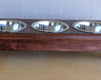 "3 Bowl CAT, or Dog, FEEDER TABLE!  Hand Crafted Wood, Raised 4"""" w/ Stainless Steel Bowls!  Keep Your Feeding Area Neater and Cleaner!"