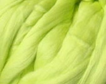 Dyed Merino - Citron - Solid color commercial dyed - combed top roving spinning felting fiber fibre arts  - Yellow green