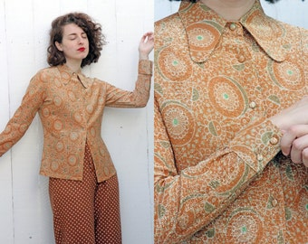 SALE Vintage 70s Blouse | 70s Printed Lurex Glitter Long Sleeve Button Down Blouse | Small S