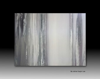 "Original abstract textured Acrylic painting on canvas modern wall art mono tone gray silver white ""Seescape006"""