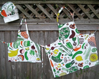 Matching Mother/Daughter/Grandmother Aprons and childs chef hat