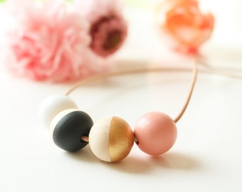 Marie - necklace with round hand painted wooden beads, leather cord necklace - white - black - gold - pink